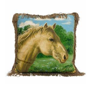 Vntg James Hautman Equestrian Horse Pillow Fringe